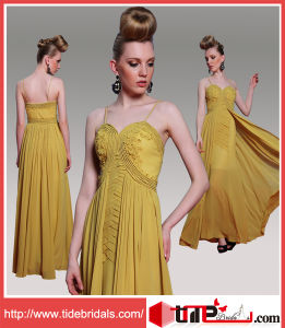 Yellow A-Line Sweetheart Spaghetti Strap in-Stock Chiffon Evening Prom Dress (31001)