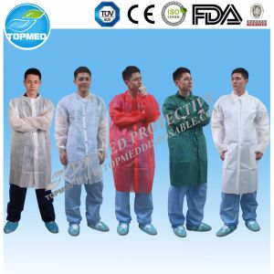 White Blue PE PP SMS Disposable Lab Coat pictures & photos