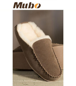 Men′s Bruno Suede Mule Sheepskin Slippers pictures & photos