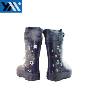 Cotton Lining Cartoon Kids Rubber Rain Boots with Waterproof Collar pictures & photos