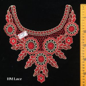 27*27cm Eyelet Red Banquet Dress Lace Collar with Big Flower and Branch Pattern Hme958 pictures & photos