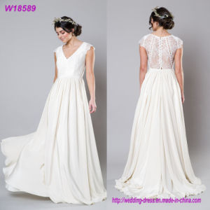 Custom Made New Ladies Fashion Strapless Champagne Floor-Length Wedding Dress Bridal Gown pictures & photos