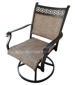 New Us Swivel Rocking Sling Patio Dining Chair with Mesh Fabric Back for Hotel Garden Yard pictures & photos