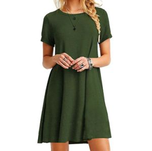 Women′s Casual Plain Simple Short Sleeve T-Shirt Loose Dresses pictures & photos