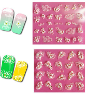 OEM 3D White Flower with Stone Nail Art Sticker pictures & photos