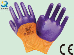 13G Nitrile Orange Polyester Shell, Purple Nitrile 3/4 Coated, Work Glove (N6036) pictures & photos