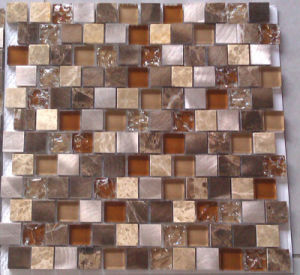 Aluminum Stone and Glass Mosaic Wall Tile (HGM386) pictures & photos
