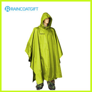 Waterproof Army Green Polyester PVC Raincoat Rpy-046 pictures & photos