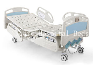 ABS Three-Cranks Manual High-Low Adjustable Hospital Bed with PP Guardraills pictures & photos