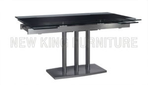 Modern Extendable Temper Glass Top with Stainless Steel Foot Dining Table (NK-DT031)