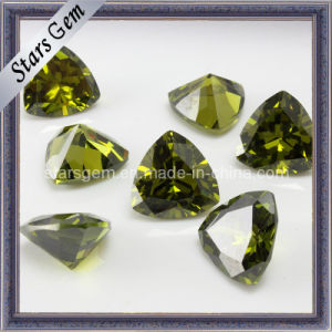 Shining Trillion Shape Peridot Gems Stone for Jewelry pictures & photos