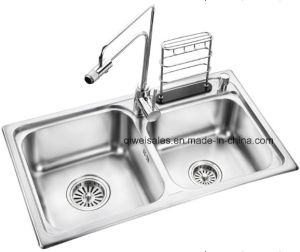 Stainless Steel Handmade Kitchen Sink with Soap Container (QW-108) pictures & photos