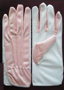 Custom Fashion White Red Long Finger Gloves with Elastic Customized