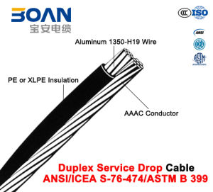Duplex Service Drop Cable with AAAC Neutral, Twisted 600 V Duplex (ANSI/ICEA S-76-474) pictures & photos