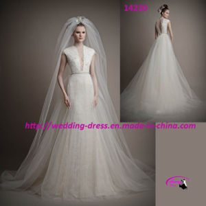 Fashion Tulle Bridal Wedding Dress with Cap Sleeves pictures & photos
