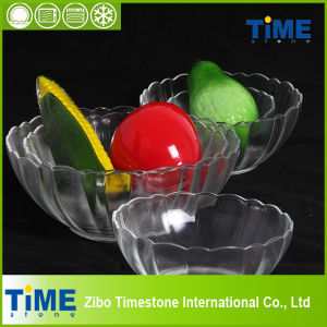 Crystal Clear Glass Salad Bowl of Lotus Shape (15031301) pictures & photos