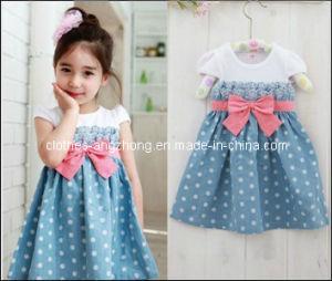High Quality Baby Kids Toddlers Cowboy Blue Polka Girl Dress