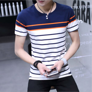 Striped O-Neck Cotton Men′s T-Shirt with Short Sleeve pictures & photos
