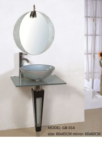Bathroom Tempered Glass Basin Sink with Mirror pictures & photos