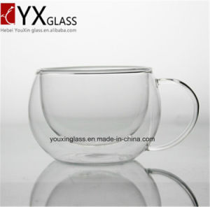 New Style Drinking Water Glass Tumbler Double Wall Glass Cup with Handle/Creative Gift Custom Made Eco-Friendly Double Wall Ice Beer Glass Cup pictures & photos