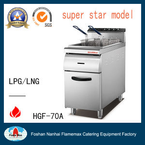 Stainless Steel 1-Tank 2 Basket Gas Fryer with Cabinet (HGF-70A) pictures & photos