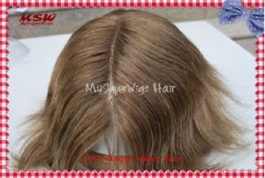 Human Hair Bleach Knots Swiss Lace Hair System pictures & photos