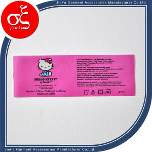 Custom Pink Cute Polyster Wash Care Label for Clothing/Gift Label pictures & photos