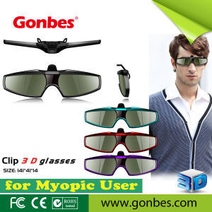 Clip-on 3D TV Glasses Active Shutter 3D TV Clip-on Glass Eyewear