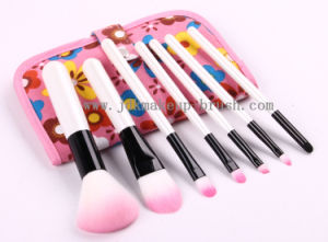 White Handle Makeup Brush Set with Fabric Pouch (JDK-PSA186)