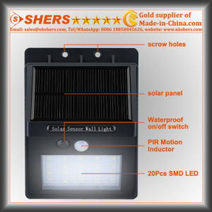 Solar Motion Sensor Light with Adjustable Brightness, Dim Light (SH-2600B) pictures & photos