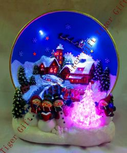 Polyresin Ball W/Winter Scene Wfibre Oiptical and Music