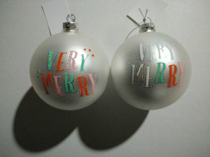 8cm X′mas Glass Ball with Decal pictures & photos