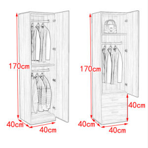 Simple White One Door Wooden Wardrobe pictures & photos