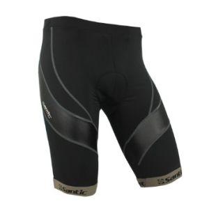 Santic New Men′s Cycling 4D Coolmax Padded Black Short Pants