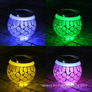 Mosaic Glass Solar Jar for Decoration Green Color (RS114) pictures & photos