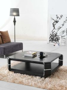 Square Oak Wood Black Coffee Tables and End Tables (059)