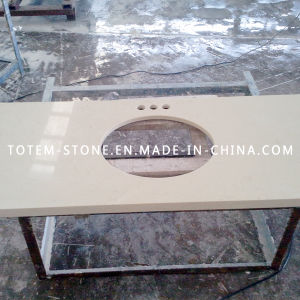 China White Quartz Counter Top Prefabricated Solid Surface Vanity For Bathroom China Quartz