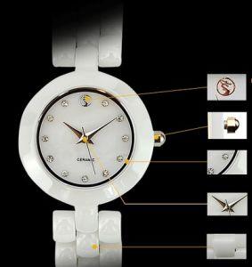Women Popular Ceramic Japanese Quartz Movement with Analog Display Watch (sw036)
