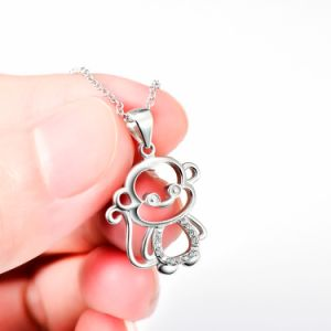 Genuine 925 Sterling Silver Lovely Monkey Pendant Necklace Fine Jewelry for Women and Men pictures & photos