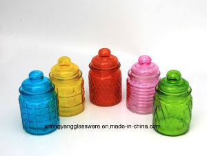Mini Multicolor Glass Storage Jar with Glass Lid pictures & photos
