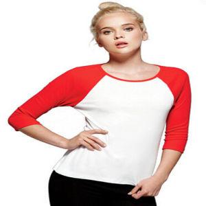 Plain Custom Women′s Raglan Sleeve T-Shirt pictures & photos