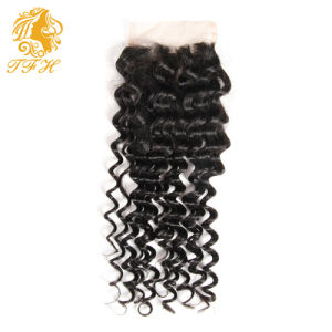 Deep Curly Brazilian Virgin Hair with Closure Rosa Hair Products Brazilian Curly Virgin Hair 2 or 3 Bundles with Lace Closure pictures & photos