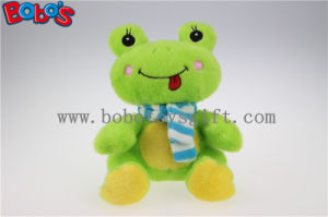 Lovely Cute Baby Stuffed Green Frog Animal with Blue Scarf pictures & photos