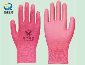 13 Gauge Polyester Liner with PU Coated Safety Gloves pictures & photos