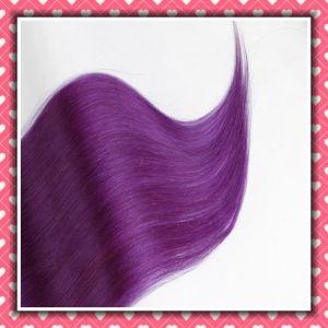 Last Long Time PU Hair Extensions Silky 16inch Purple Color pictures & photos