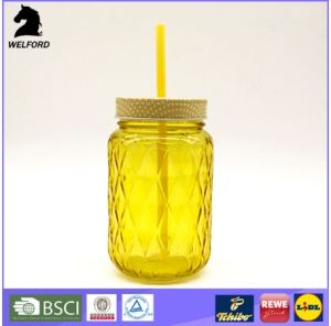 440ml Embossed Glass Maons Jar with Screw Lid and Straw Factory Price Honey Bottle