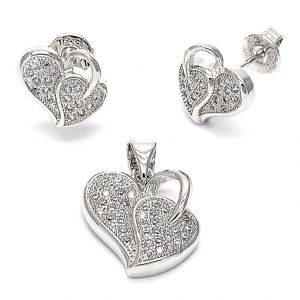 Heart 925 Sterling Silver Jewelry Set Micro Pave Setting pictures & photos