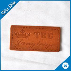 Custom Logo Embossed PU Leather Patch Label for Garments Jeans pictures & photos