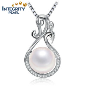 White Button Freshwater Pearl Pendant AAA 9-10mm Simple 925 Silver Pearl Pendant pictures & photos
