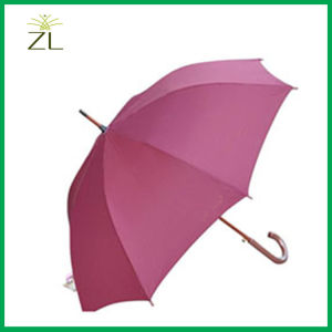 Black Dark Color Promotion High Quality Custom Logo Wooden Straight Umbrella 8 Tube Auto and Manual Open pictures & photos